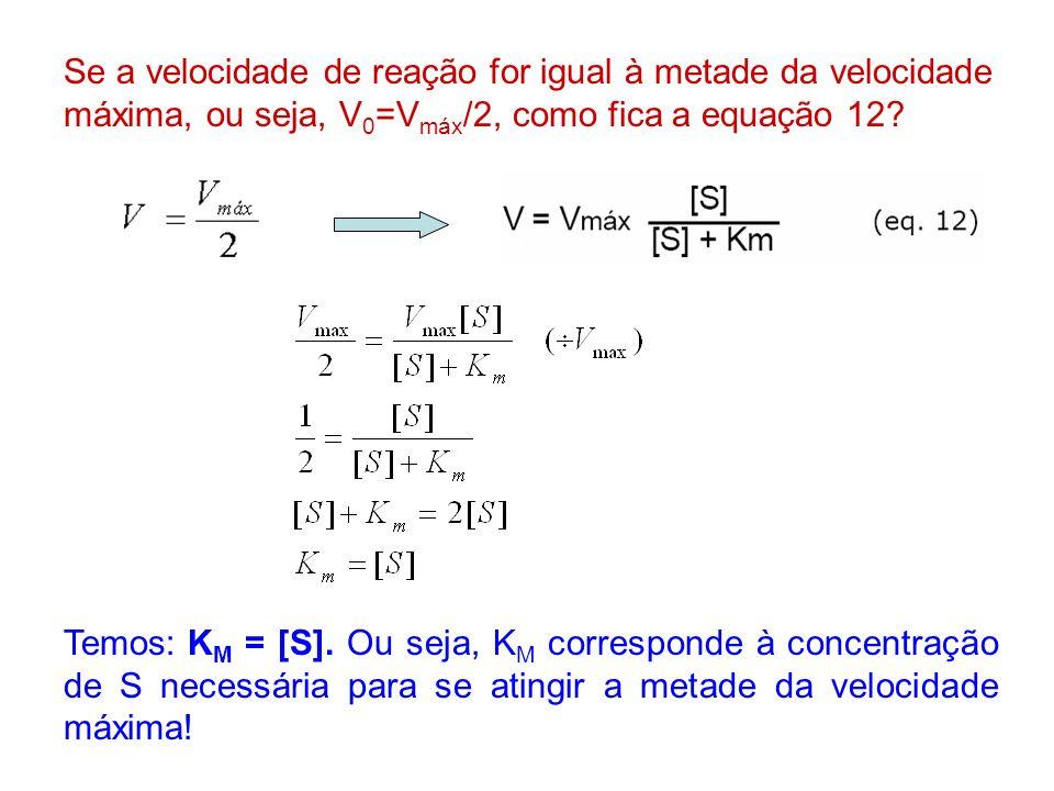 Se a velocidade de reação for igual à metade da velocidade máxima, ou seja, V0=Vmáx/2, como fica a equação 12
