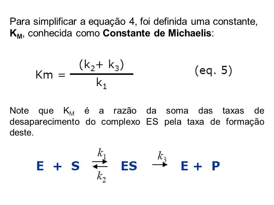 Para simplificar a equação 4, foi definida uma constante, KM, conhecida como Constante de Michaelis: