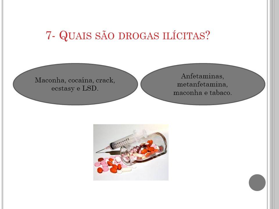 7- Quais são drogas ilícitas