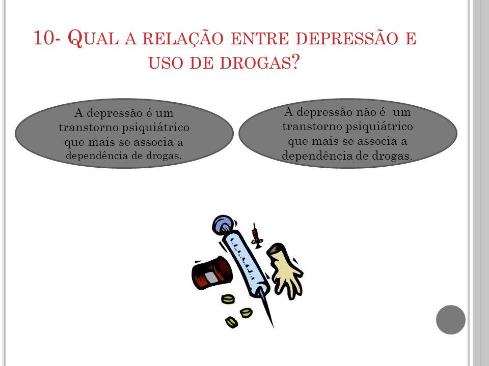 10- Qual a relação entre depressão e uso de drogas