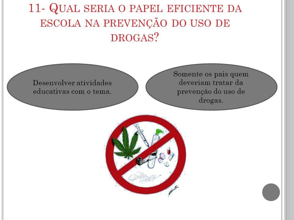 11- Qual seria o papel eficiente da escola na prevenção do uso de drogas