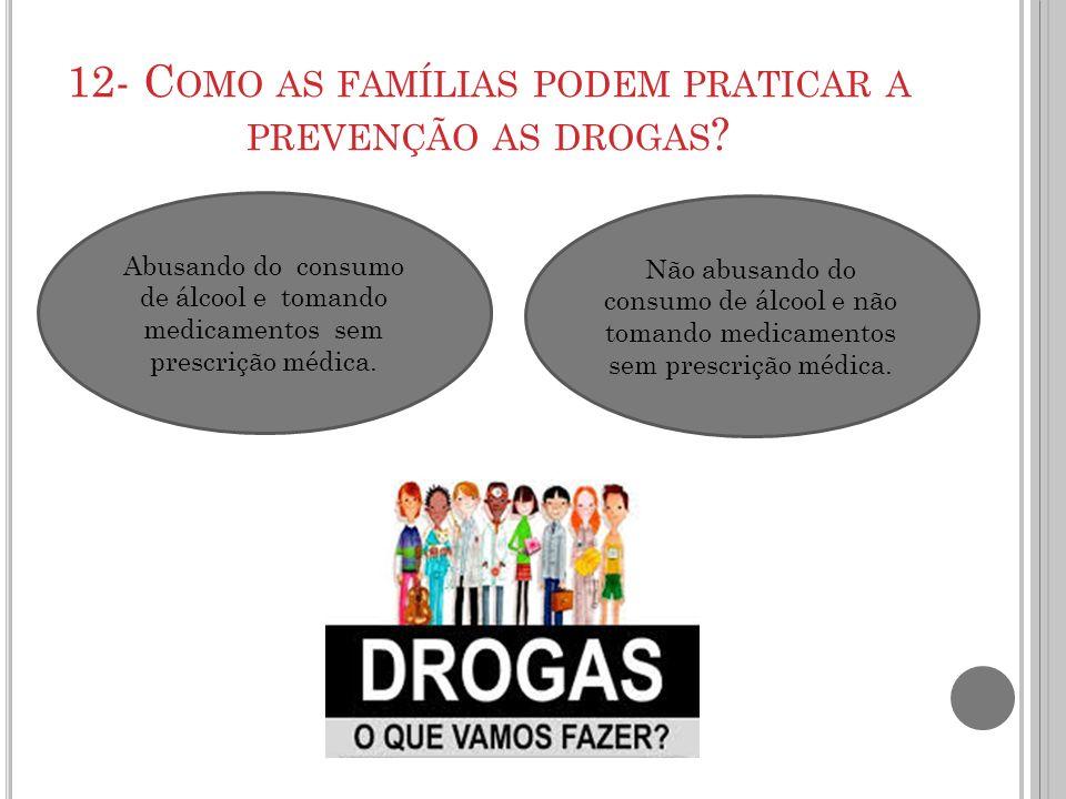 12- Como as famílias podem praticar a prevenção as drogas