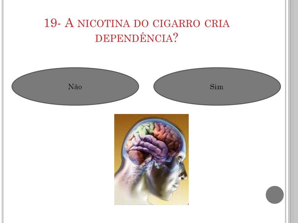 19- A nicotina do cigarro cria dependência