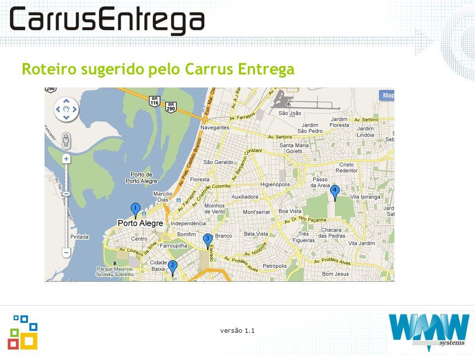 Roteiro sugerido pelo Carrus Entrega