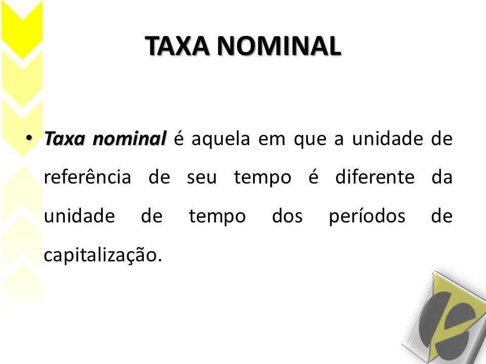 TAXA NOMINAL Taxa nominal é aquela em que a unidade de referência de seu tempo é diferente da unidade de tempo dos períodos de capitalização.
