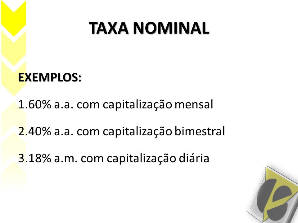 TAXA NOMINAL EXEMPLOS: 60% a.a. com capitalização mensal