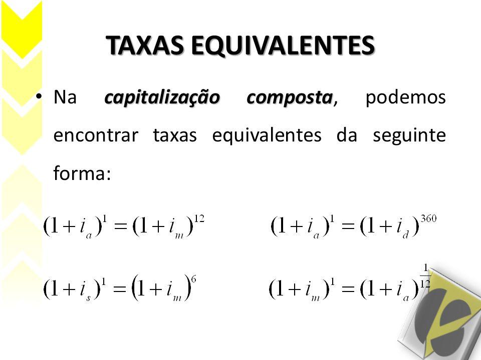 TAXAS EQUIVALENTES Na capitalização composta, podemos encontrar taxas equivalentes da seguinte forma: