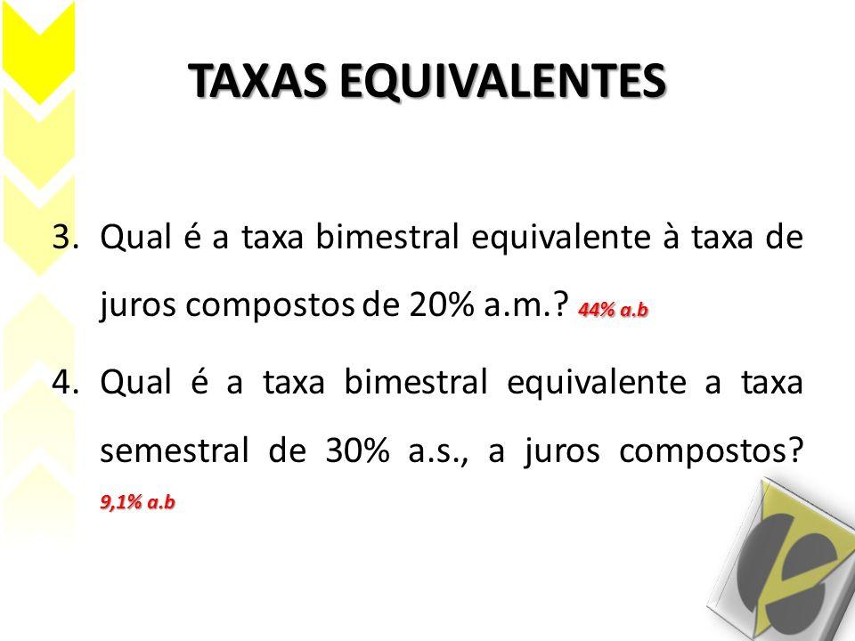 TAXAS EQUIVALENTES Qual é a taxa bimestral equivalente à taxa de juros compostos de 20% a.m. 44% a.b.