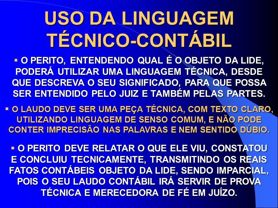 USO DA LINGUAGEM TÉCNICO-CONTÁBIL