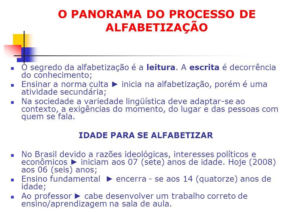 O PANORAMA DO PROCESSO DE ALFABETIZAÇÃO