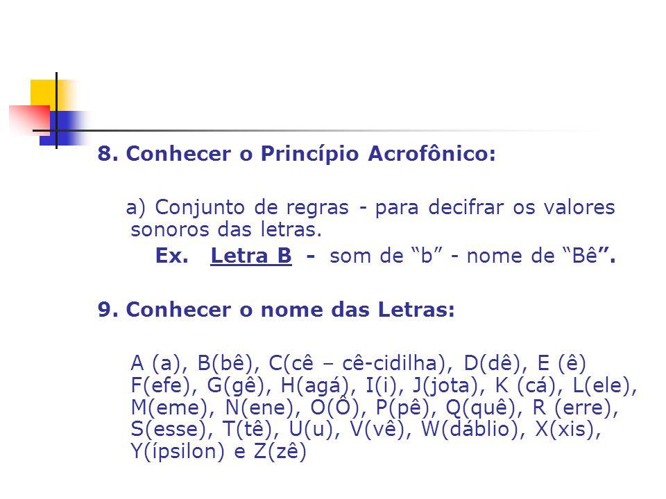 8. Conhecer o Princípio Acrofônico: