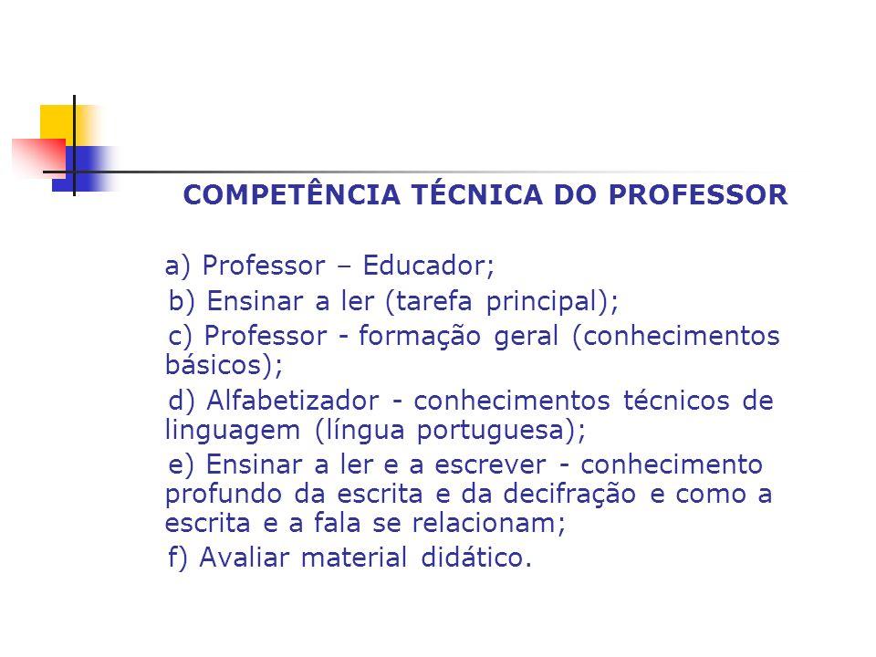 COMPETÊNCIA TÉCNICA DO PROFESSOR