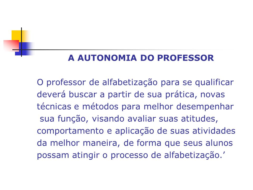 A AUTONOMIA DO PROFESSOR