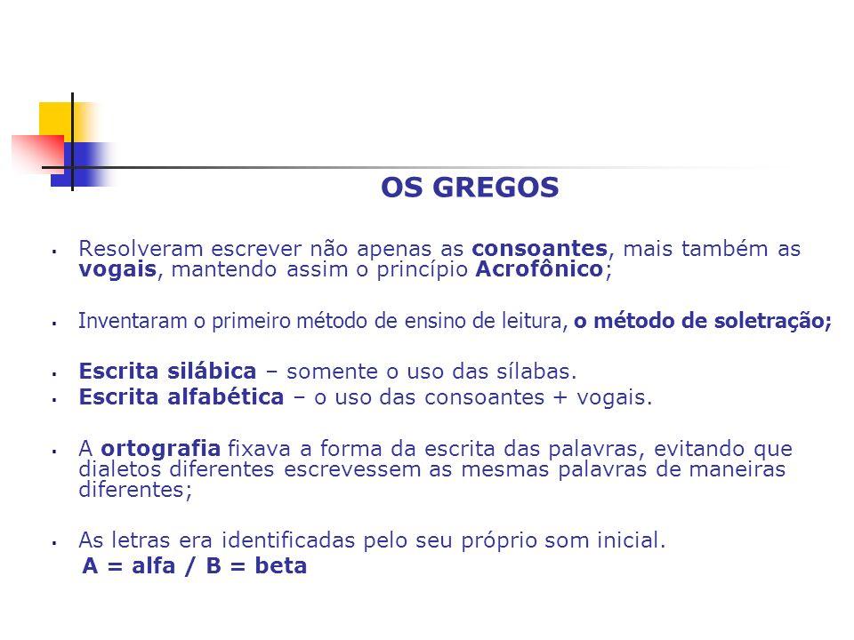 OS GREGOS Resolveram escrever não apenas as consoantes, mais também as vogais, mantendo assim o princípio Acrofônico;