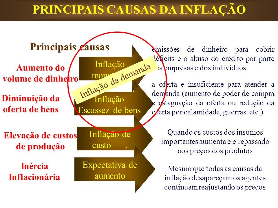 PRINCIPAIS CAUSAS DA INFLAÇÃO