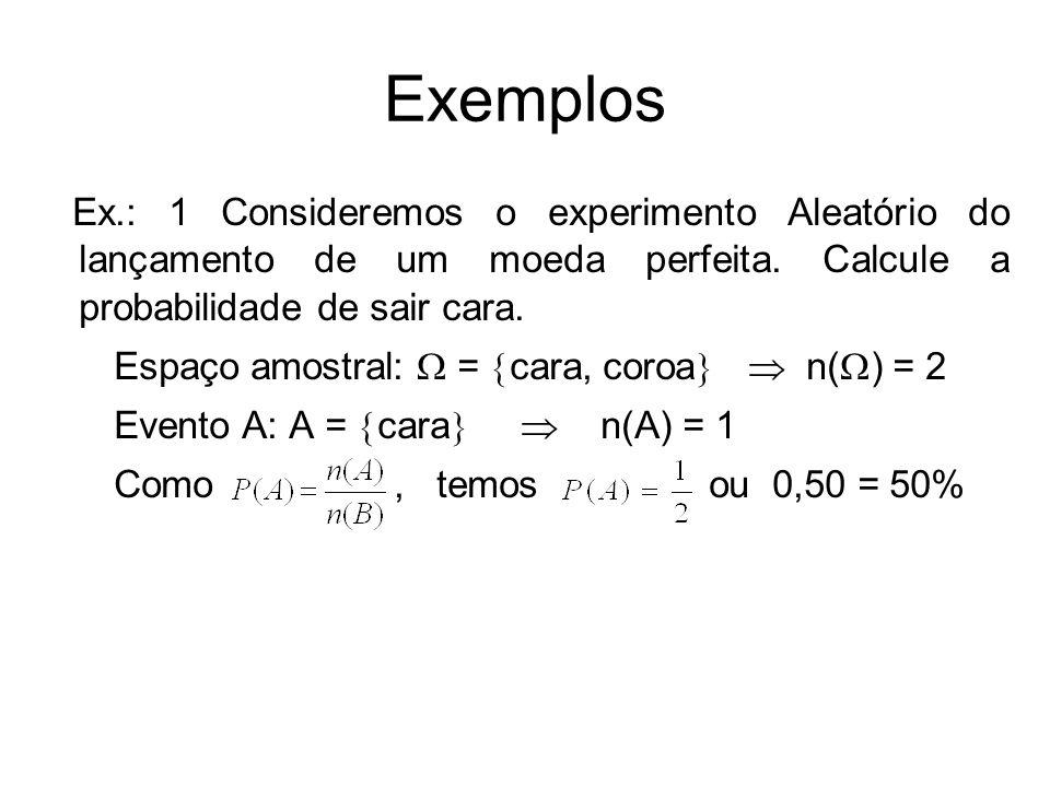 Exemplos Ex.: 1 Consideremos o experimento Aleatório do lançamento de um moeda perfeita. Calcule a probabilidade de sair cara.