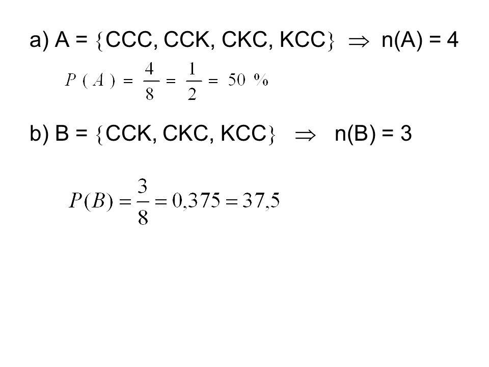 a) A = CCC, CCK, CKC, KCC  n(A) = 4