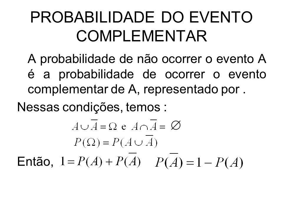 PROBABILIDADE DO EVENTO COMPLEMENTAR