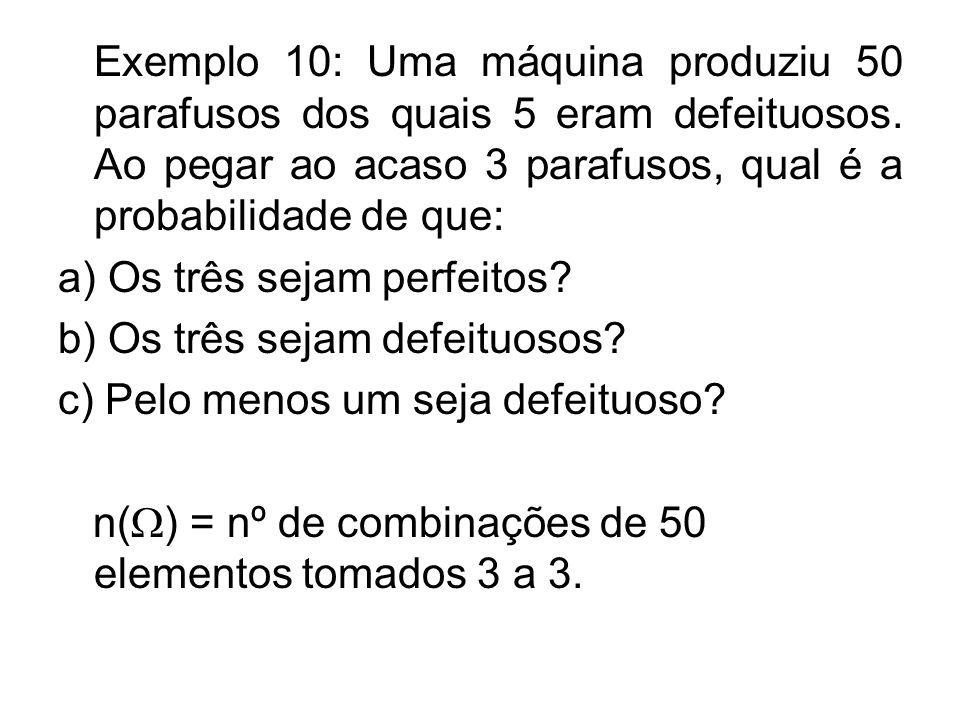 Exemplo 10: Uma máquina produziu 50 parafusos dos quais 5 eram defeituosos.