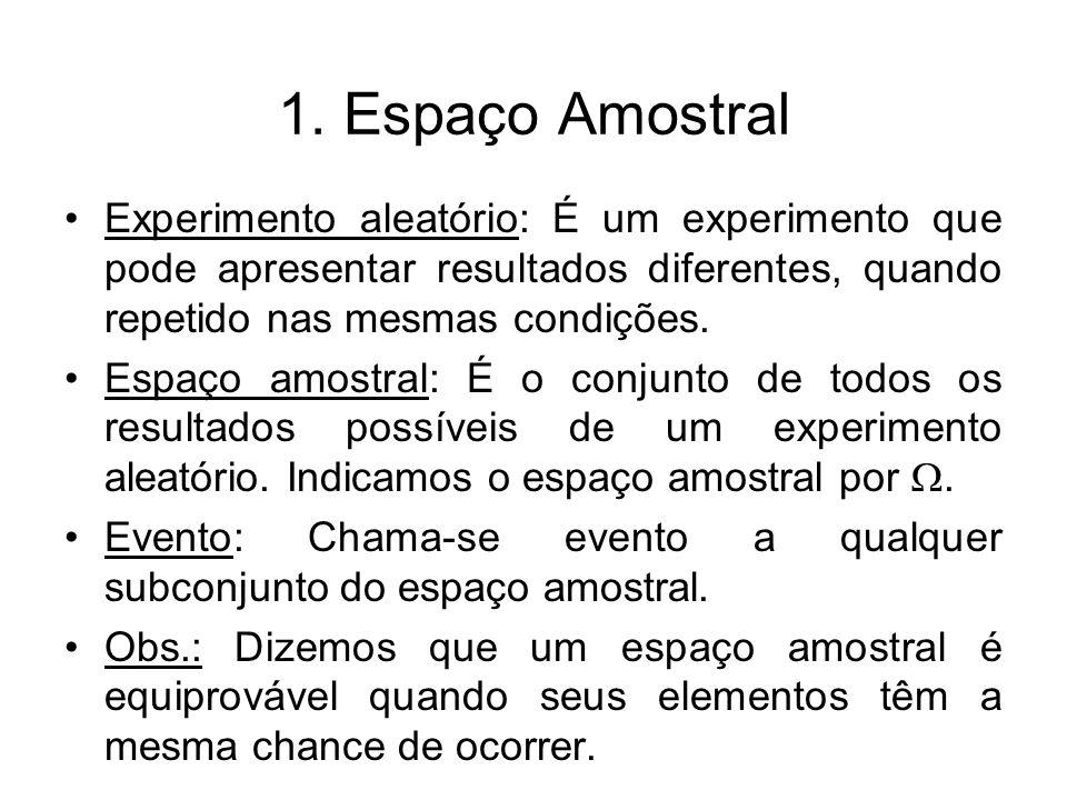 1. Espaço Amostral Experimento aleatório: É um experimento que pode apresentar resultados diferentes, quando repetido nas mesmas condições.
