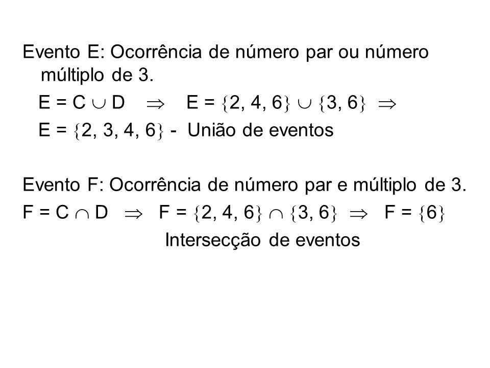 Evento E: Ocorrência de número par ou número múltiplo de 3