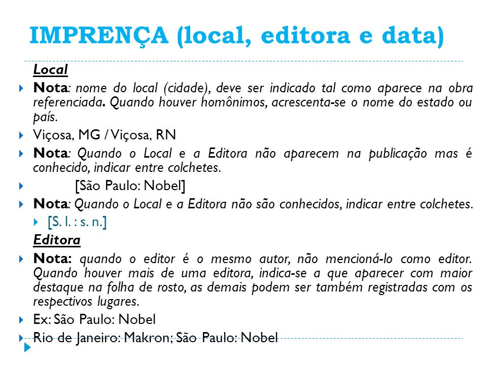 IMPRENÇA (local, editora e data)