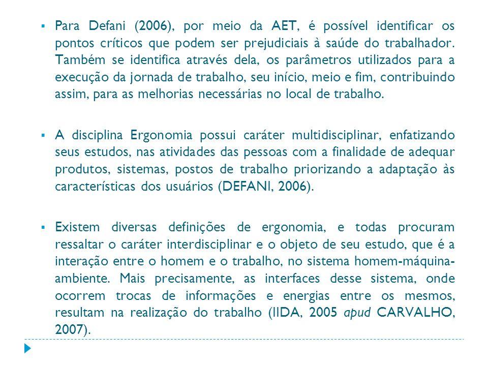 Para Defani (2006), por meio da AET, é possível identificar os pontos críticos que podem ser prejudiciais à saúde do trabalhador. Também se identifica através dela, os parâmetros utilizados para a execução da jornada de trabalho, seu início, meio e fim, contribuindo assim, para as melhorias necessárias no local de trabalho.