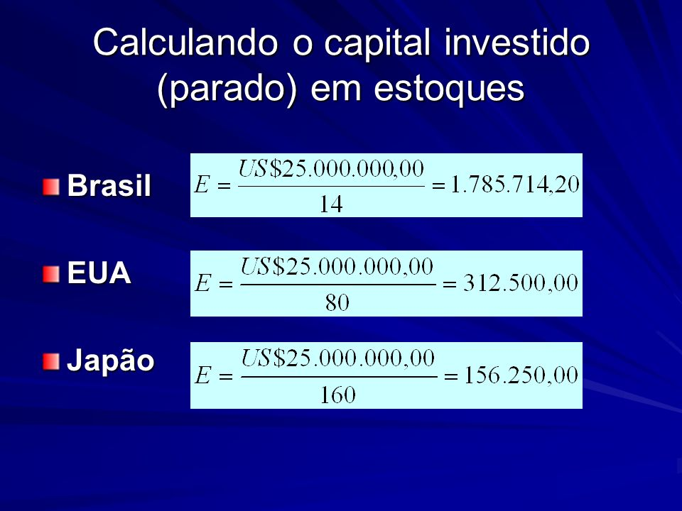 Calculando o capital investido (parado) em estoques