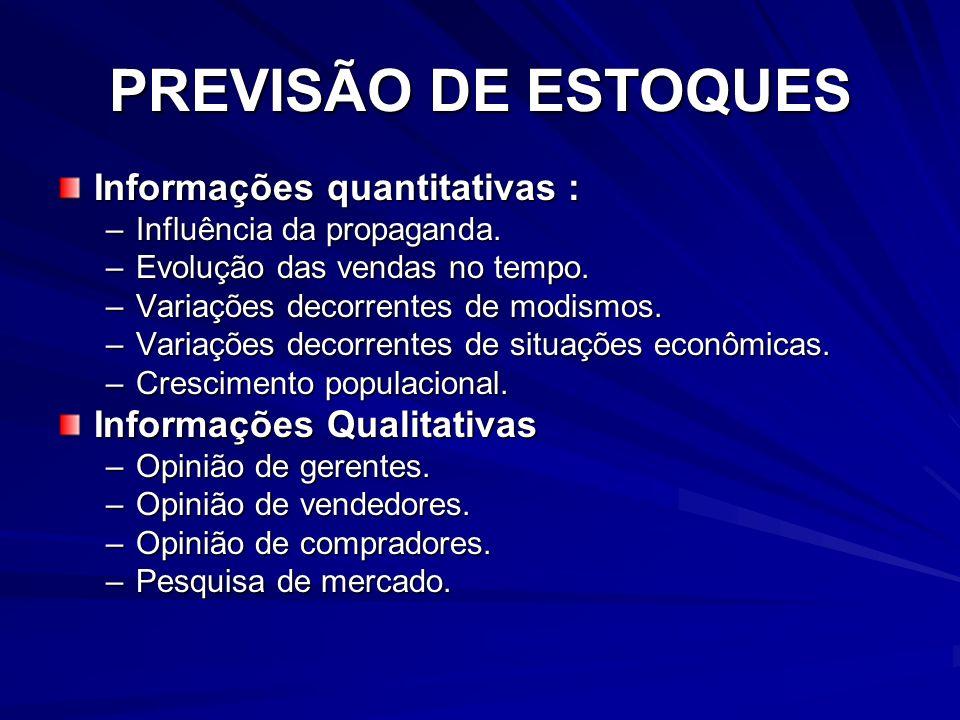 PREVISÃO DE ESTOQUES Informações quantitativas :