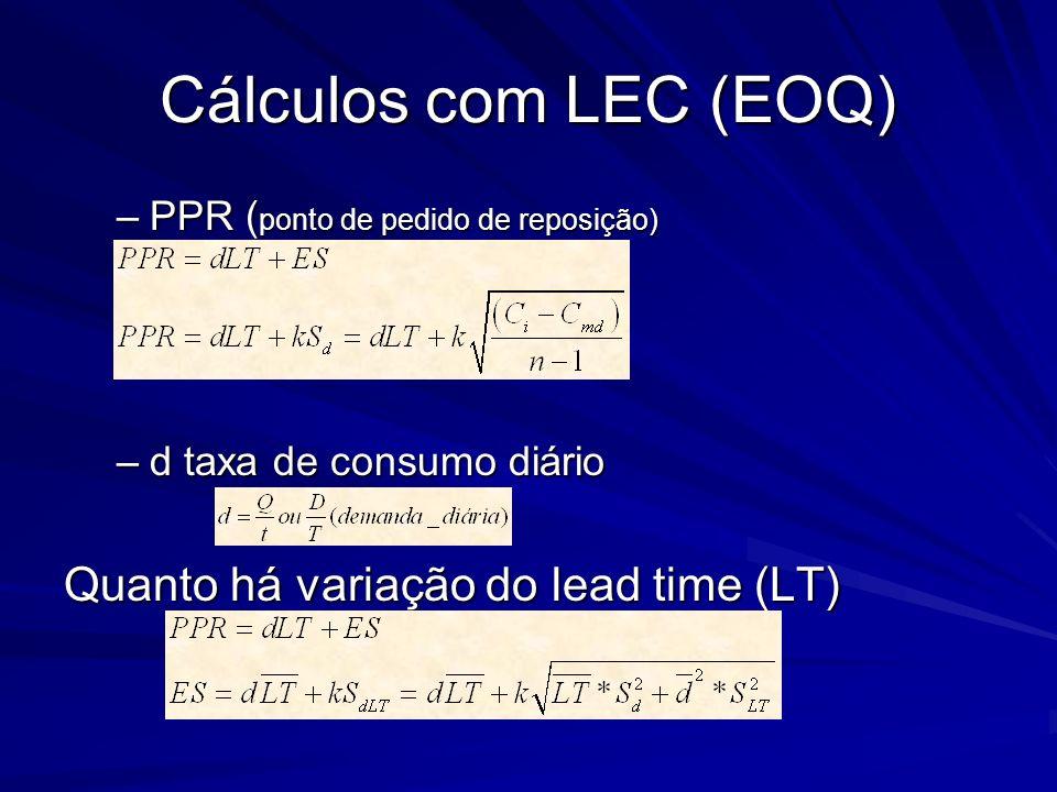 Cálculos com LEC (EOQ) Quanto há variação do lead time (LT)