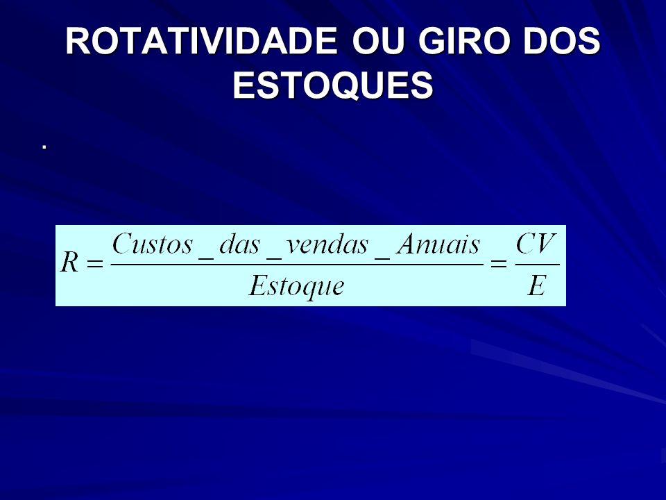 ROTATIVIDADE OU GIRO DOS ESTOQUES
