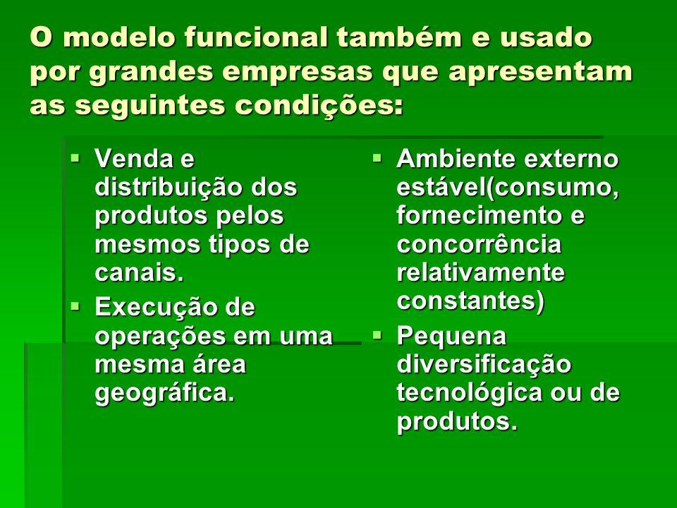 O modelo funcional também e usado por grandes empresas que apresentam as seguintes condições: