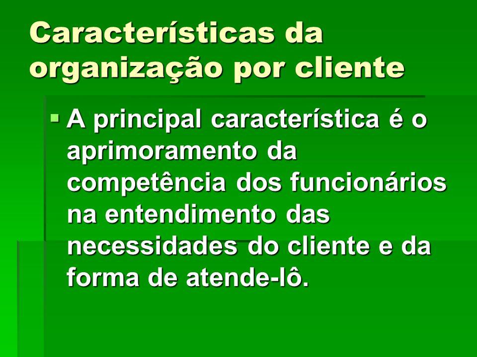 Características da organização por cliente