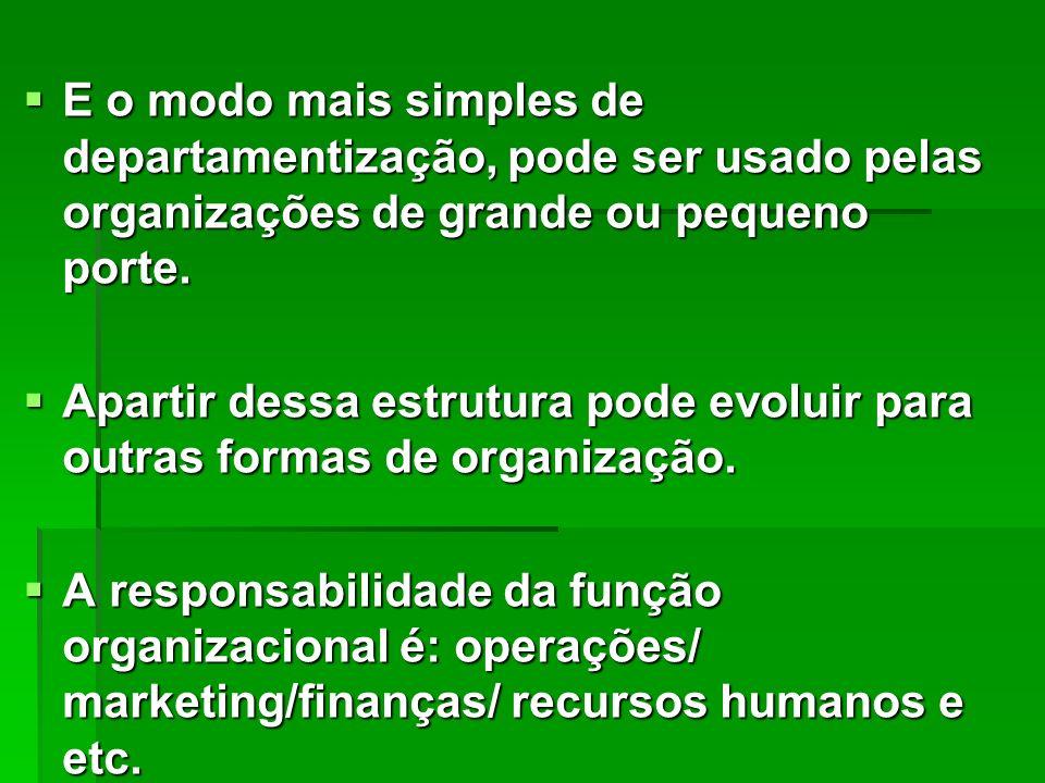 E o modo mais simples de departamentização, pode ser usado pelas organizações de grande ou pequeno porte.