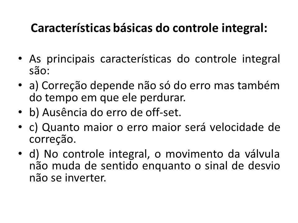 Características básicas do controle integral: