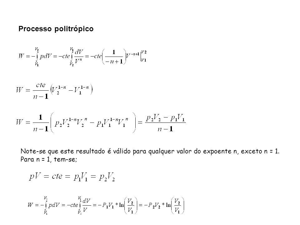 Processo politrópico Note-se que este resultado é válido para qualquer valor do expoente n, exceto n = 1.