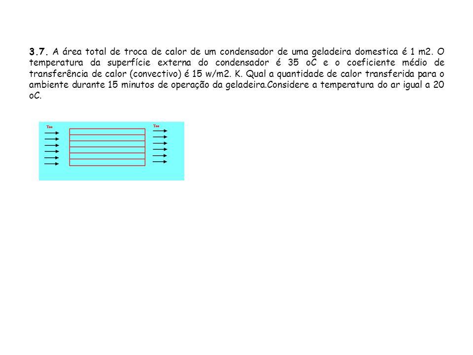 3.7. A área total de troca de calor de um condensador de uma geladeira domestica é 1 m2.