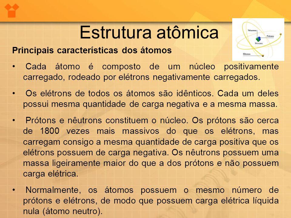 Estrutura atômica Principais características dos átomos