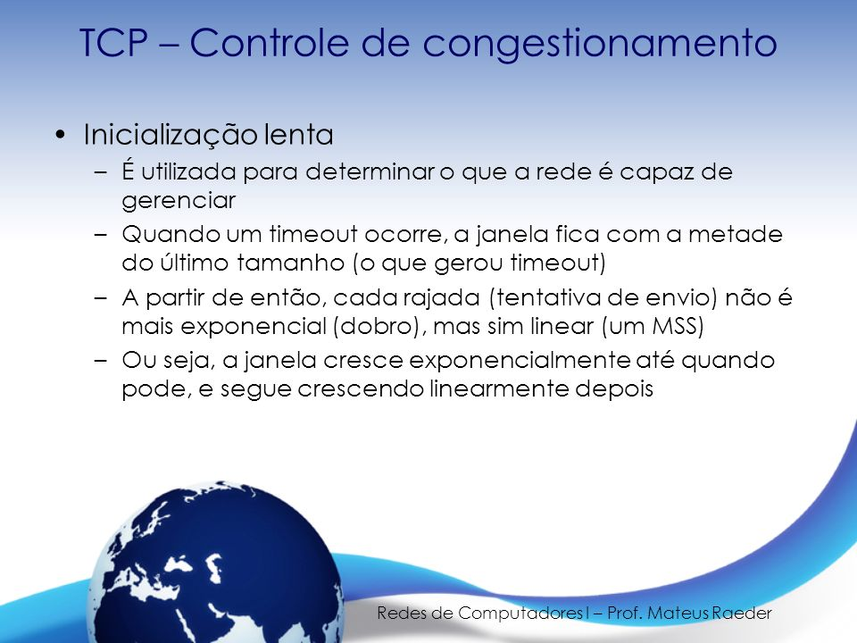 TCP – Controle de congestionamento