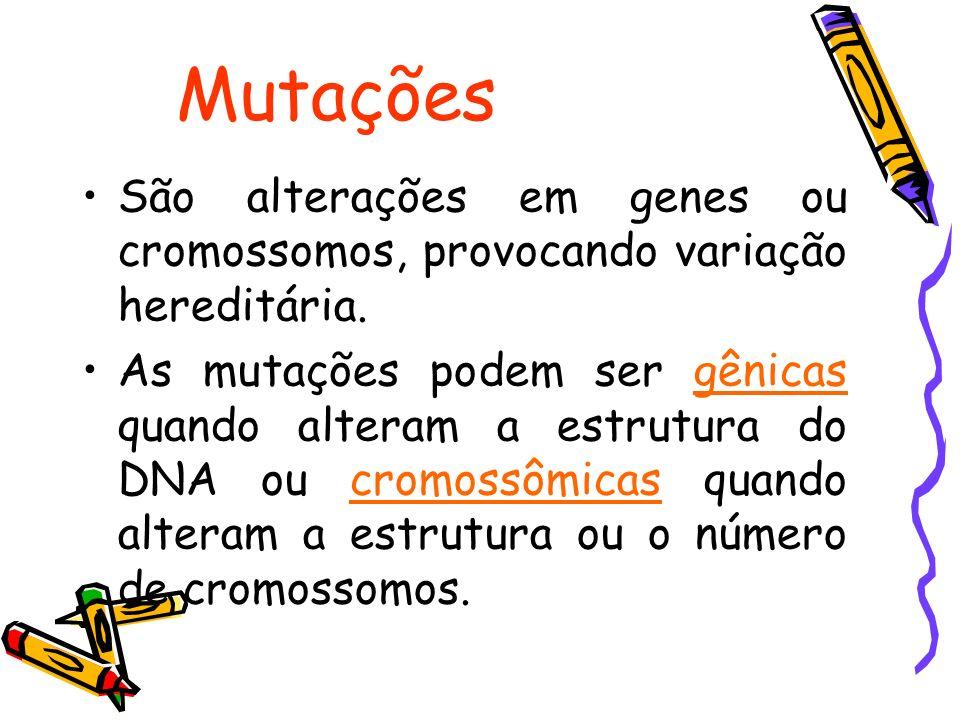 Mutações São alterações em genes ou cromossomos, provocando variação hereditária.