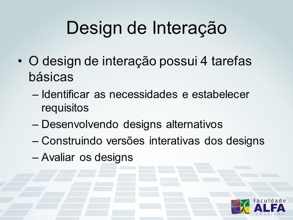 Design de Interação O design de interação possui 4 tarefas básicas