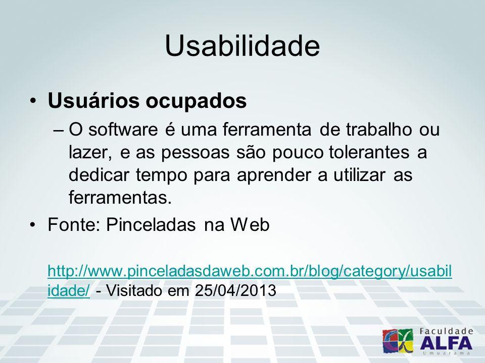 Usabilidade Usuários ocupados