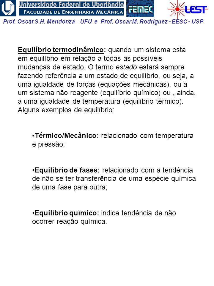 Equilíbrio termodinâmico: quando um sistema está em equilíbrio em relação a todas as possíveis mudanças de estado. O termo estado estará sempre fazendo referência a um estado de equilíbrio, ou seja, a uma igualdade de forças (equações mecânicas), ou a um sistema não reagente (equilíbrio químico) ou , ainda, a uma igualdade de temperatura (equilíbrio térmico). Alguns exemplos de equilíbrio: