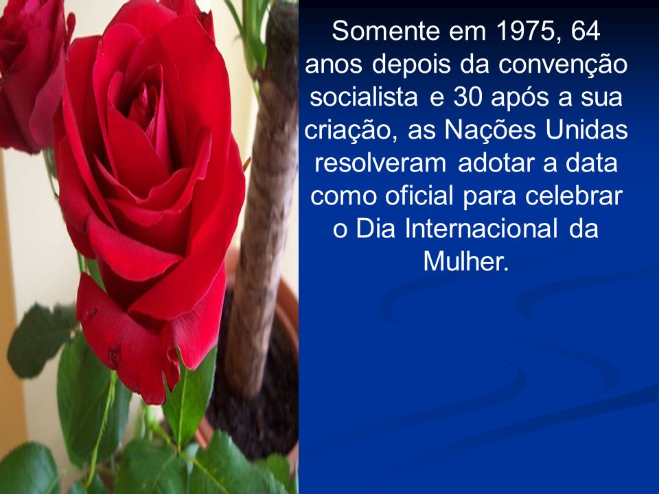 Somente em 1975, 64 anos depois da convenção socialista e 30 após a sua criação, as Nações Unidas resolveram adotar a data como oficial para celebrar o Dia Internacional da Mulher.