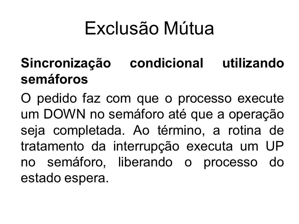 Exclusão Mútua Sincronização condicional utilizando semáforos