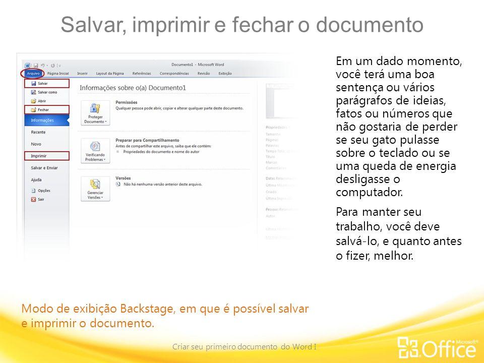 Salvar, imprimir e fechar o documento