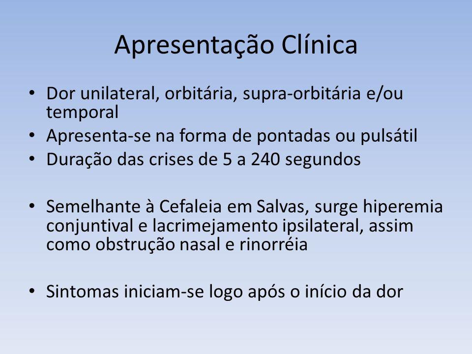 Apresentação Clínica Dor unilateral, orbitária, supra-orbitária e/ou temporal. Apresenta-se na forma de pontadas ou pulsátil.