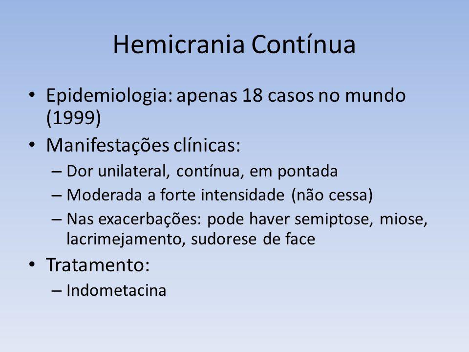 Hemicrania Contínua Epidemiologia: apenas 18 casos no mundo (1999)