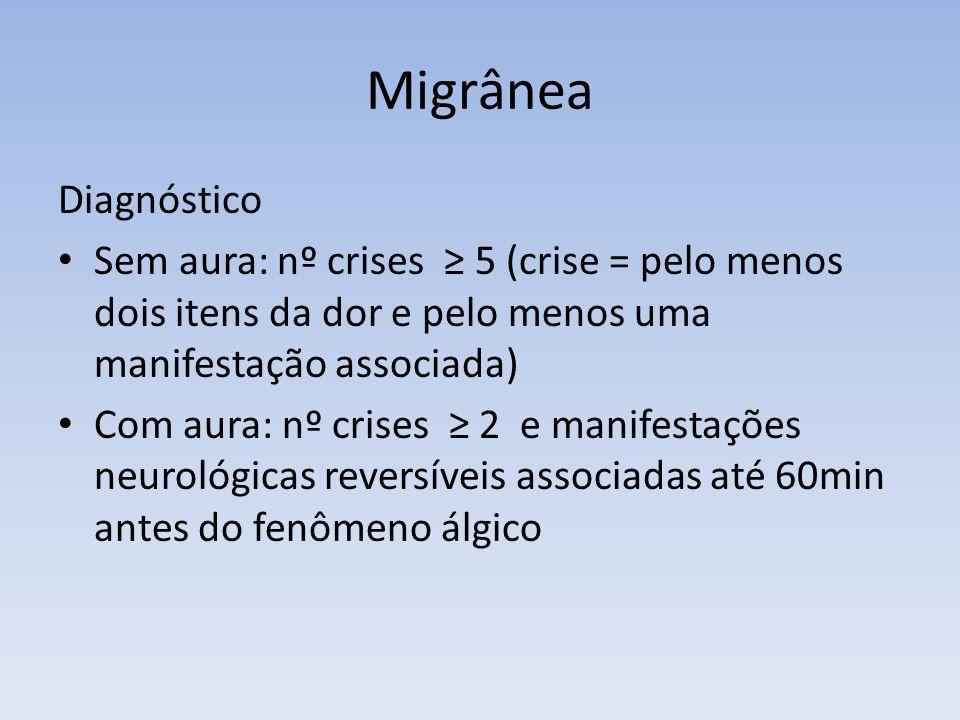 Migrânea Diagnóstico. Sem aura: nº crises ≥ 5 (crise = pelo menos dois itens da dor e pelo menos uma manifestação associada)