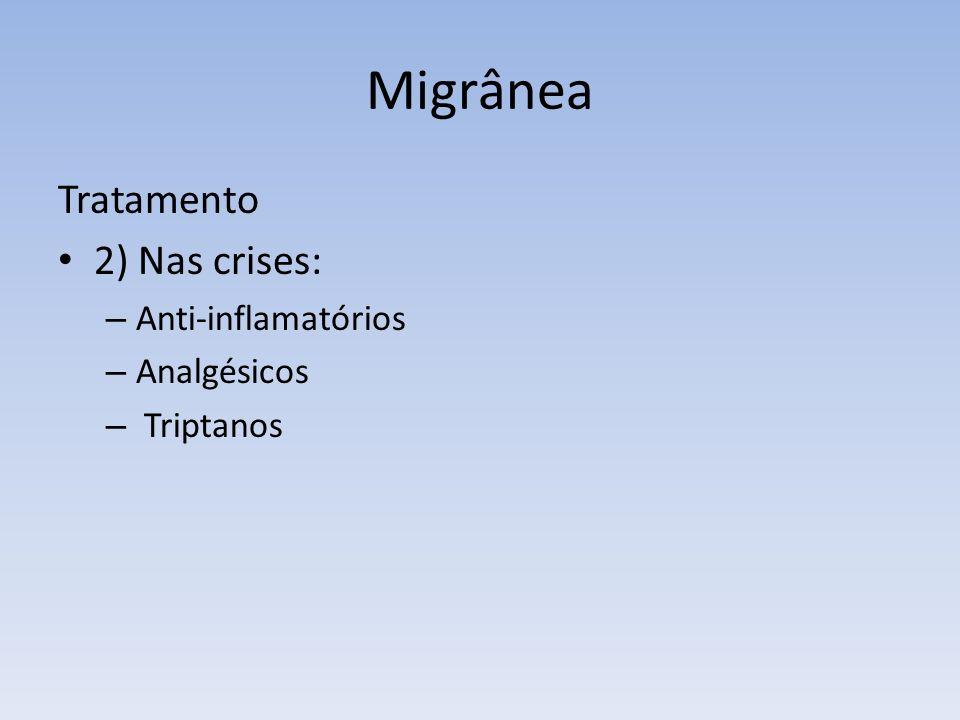 Migrânea Tratamento 2) Nas crises: Anti-inflamatórios Analgésicos